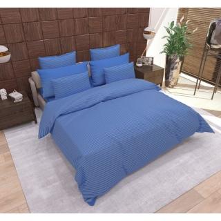 Комплект постельного белья Stripe Navy Blue сатин-страйп синий Семейный