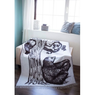 Плед с рисунком шерстяной Bears (Белый с коричневым) 140x200