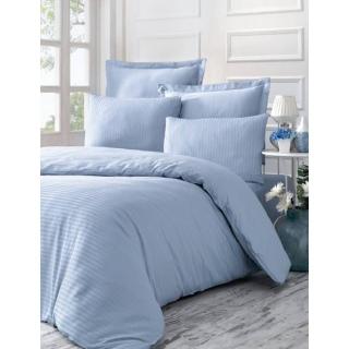 Комплект постельного белья Stripe Sateen LİNE голубой Евростандарт 200x220/2x50x70/2x70x70