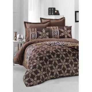 Комплект постельного белья Sateen ALİSA коричневый Евростандарт 200x220/2x50x70/2x70x70