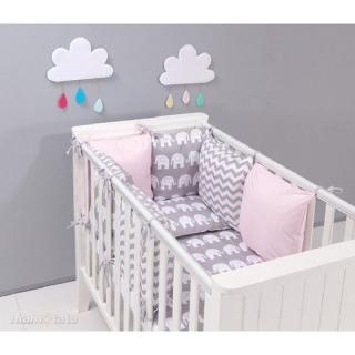 Детский комплект постельного белья в кроватку 9 в 1 Слоны розовый с серым