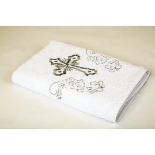 Крыжма вышивка Белый с серебром 70x140 (16/1) 400 г/м2 《Lotus》 — Папай | 260319-15139 • sv-2000022073349 •